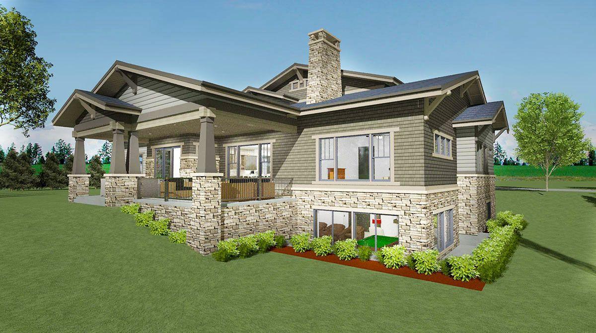 Plan 64434SC Craftsman House Plan with Huge Optional