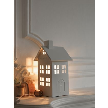 House Table Lamp - White - 28cm at Homebase