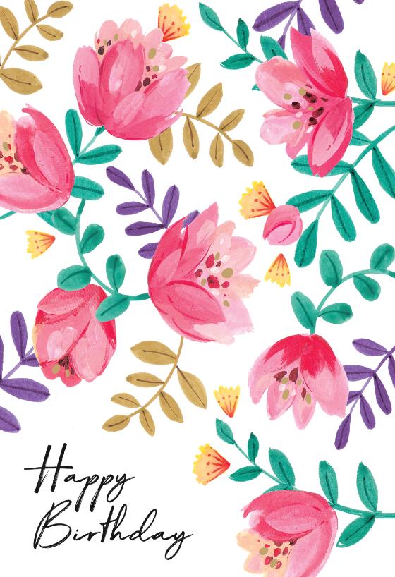 Gouache Floral Birthday Card Greetings Island Happy Birthday Art Happy Birthday Illustration Happy Birthday Cards