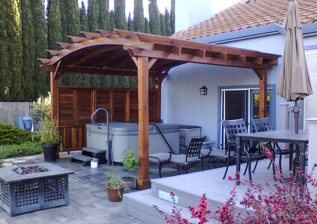 Best Arched Pergola Options 15 L X 16 Arc W Redwood 640 x 480