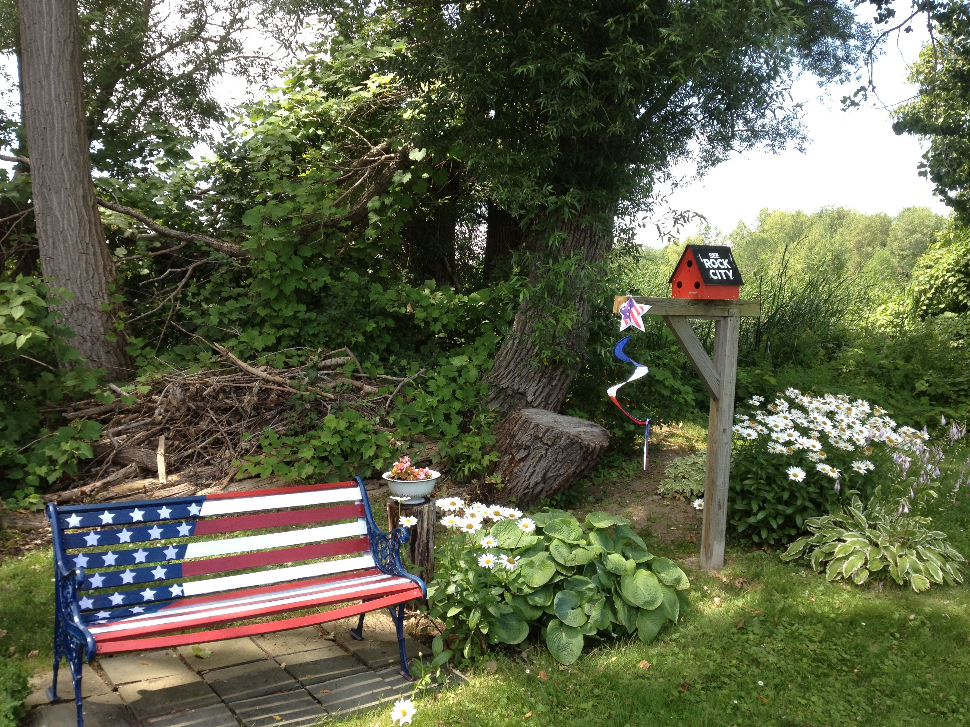 Superb Carols Flag Bench July 4Th Spirit Rocking Chair Porch Short Links Chair Design For Home Short Linksinfo