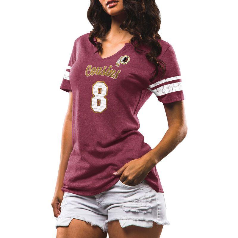 Kirk Cousins Washington Redskins Majestic Women s My Guy Name   Number  Tri-Blend V-Neck T-Shirt - Burgundy ca792c443