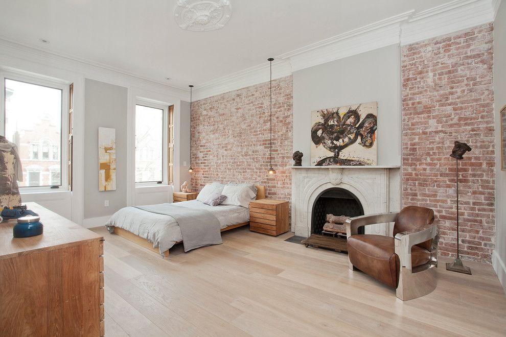 Superb Painting Brick Fireplace method New York Scandinavian