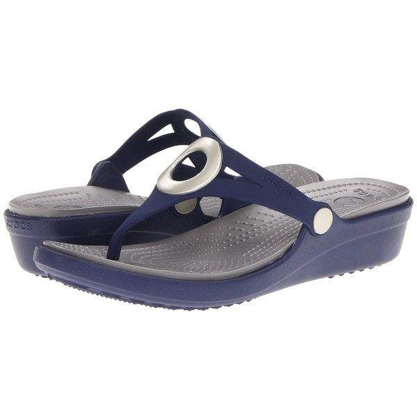 Crocs Sanrah Wedge Flip-Flop (52 CAD) ❤ liked on Polyvore featuring shoes, sandals, flip flops, embellished sandals, embellished flip flops, mid heel wedge sandals, slip on sandals and slip on flip flops