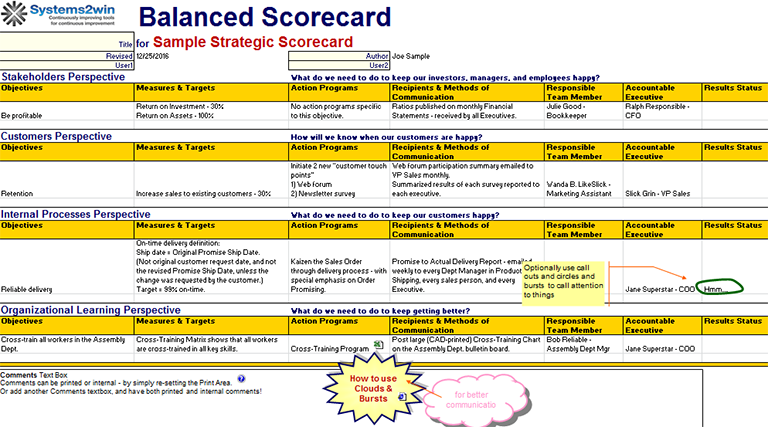 Balanced Scorecard Template  Business    Template