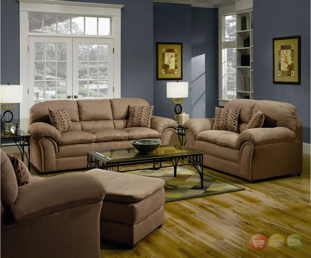Casual Country Living Room Furniture Tan Casual Soft Microfiber Sofa Love Living Room Furniture Sale Living Room Sets Furniture 4 Piece Living Room Set