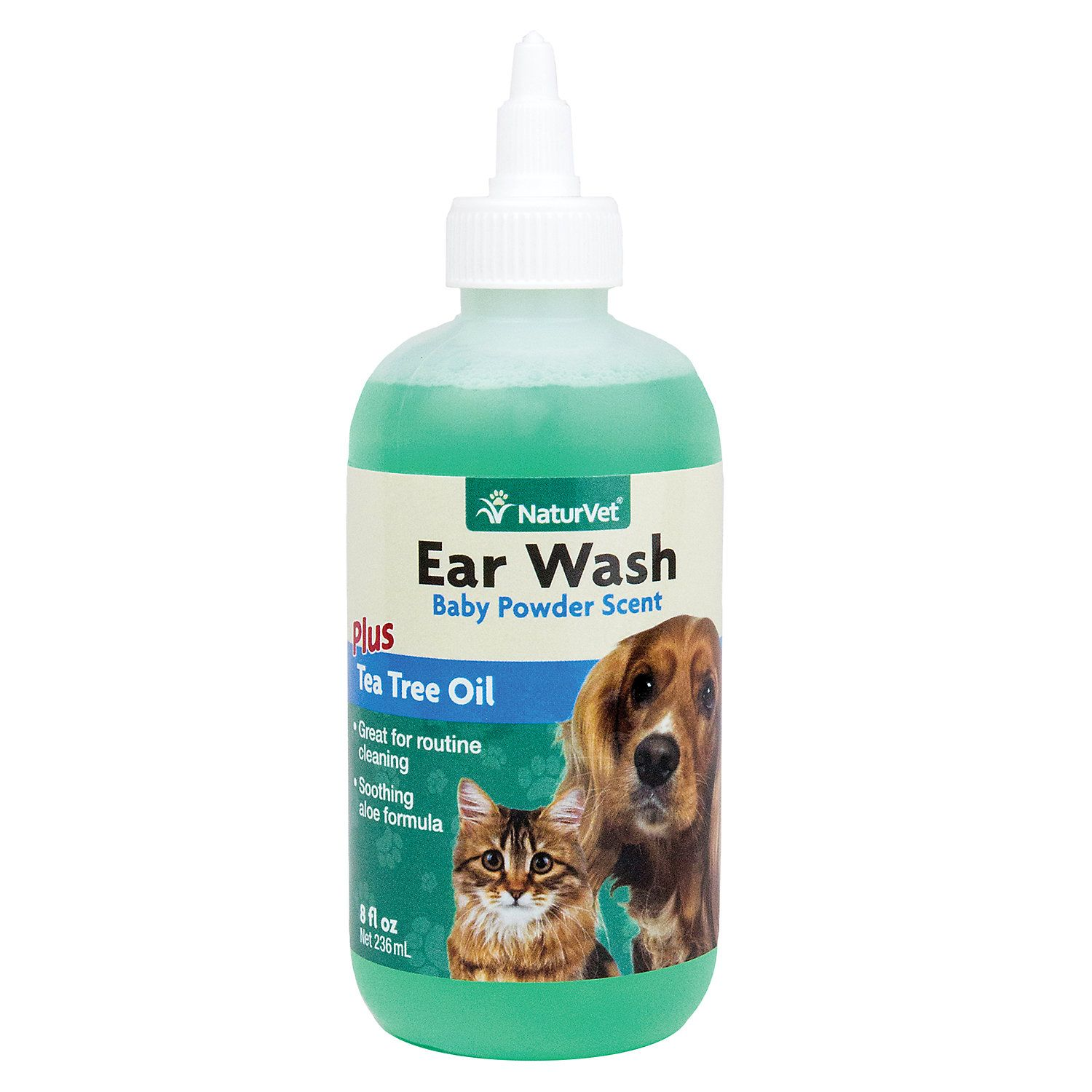 NaturVet Ear Wash with Tea Tree Oil for Pets Dog ear