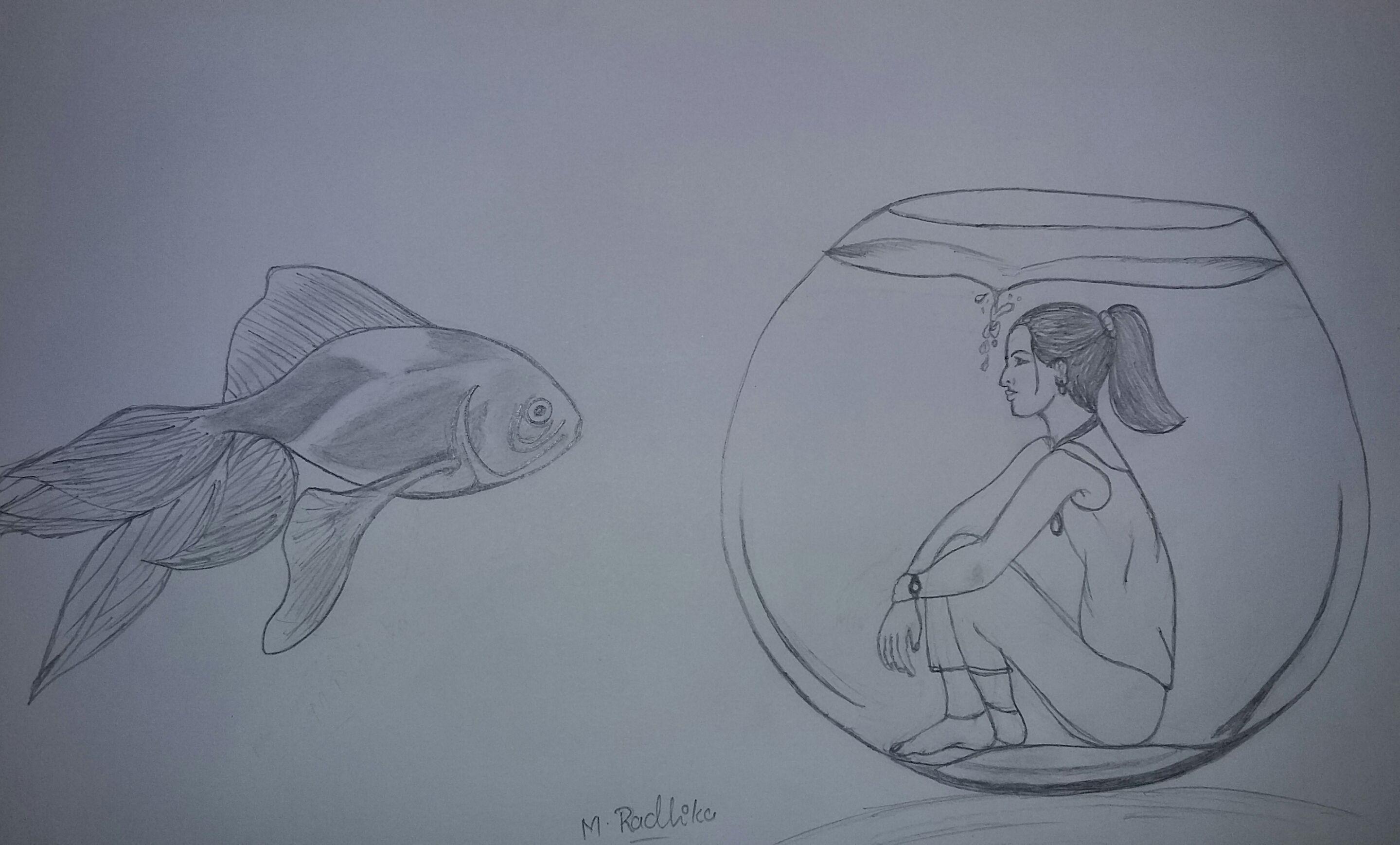 Creative drawing/sketch.. pencil shading.. fish and a girl.. | art ...