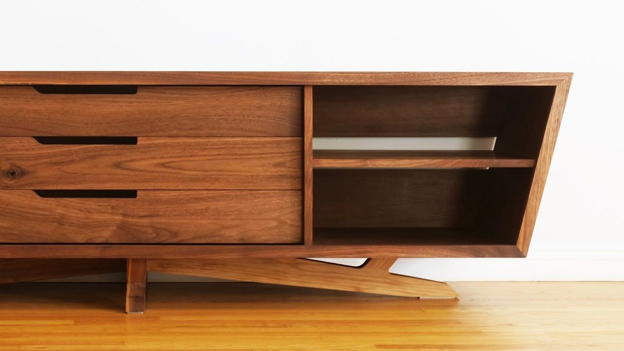 How To Build Mid Century Modern Tv Stand Credenza Media Console Entertainmentcenter Tv In 2020 Mid Century Modern Tv Stand Modern Tv Stand Mid Century Tv Console