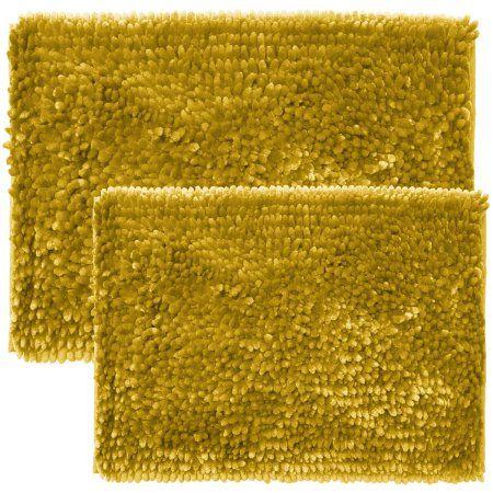 Gold Bathroom Rug Sets.Estex Home Chicago Butter Chenille 2 Piece Bathroom Rug Set