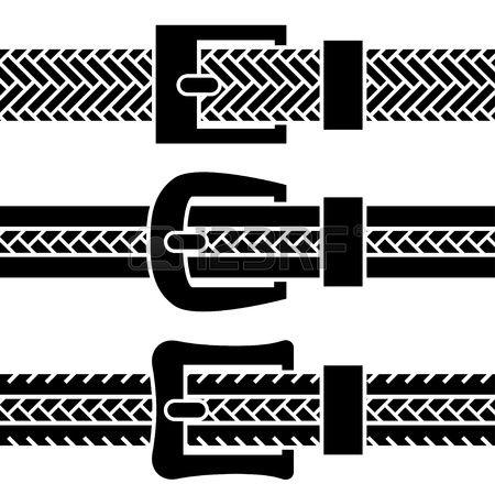 vector buckle braided belt black symbols