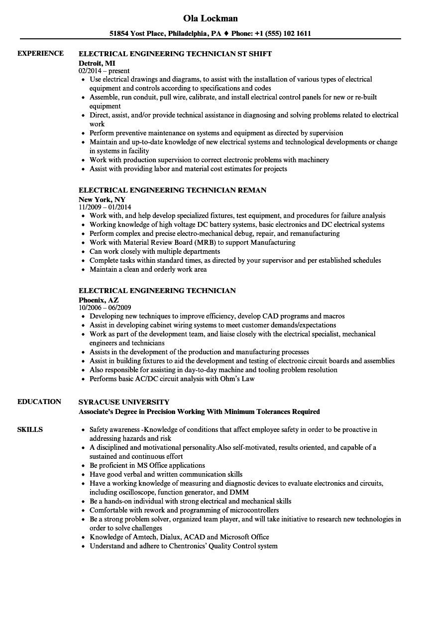 Electrical Engineering Resume Examples Great Electrical