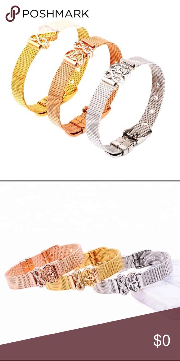 Stainless Steele Slide Charm Bracelet