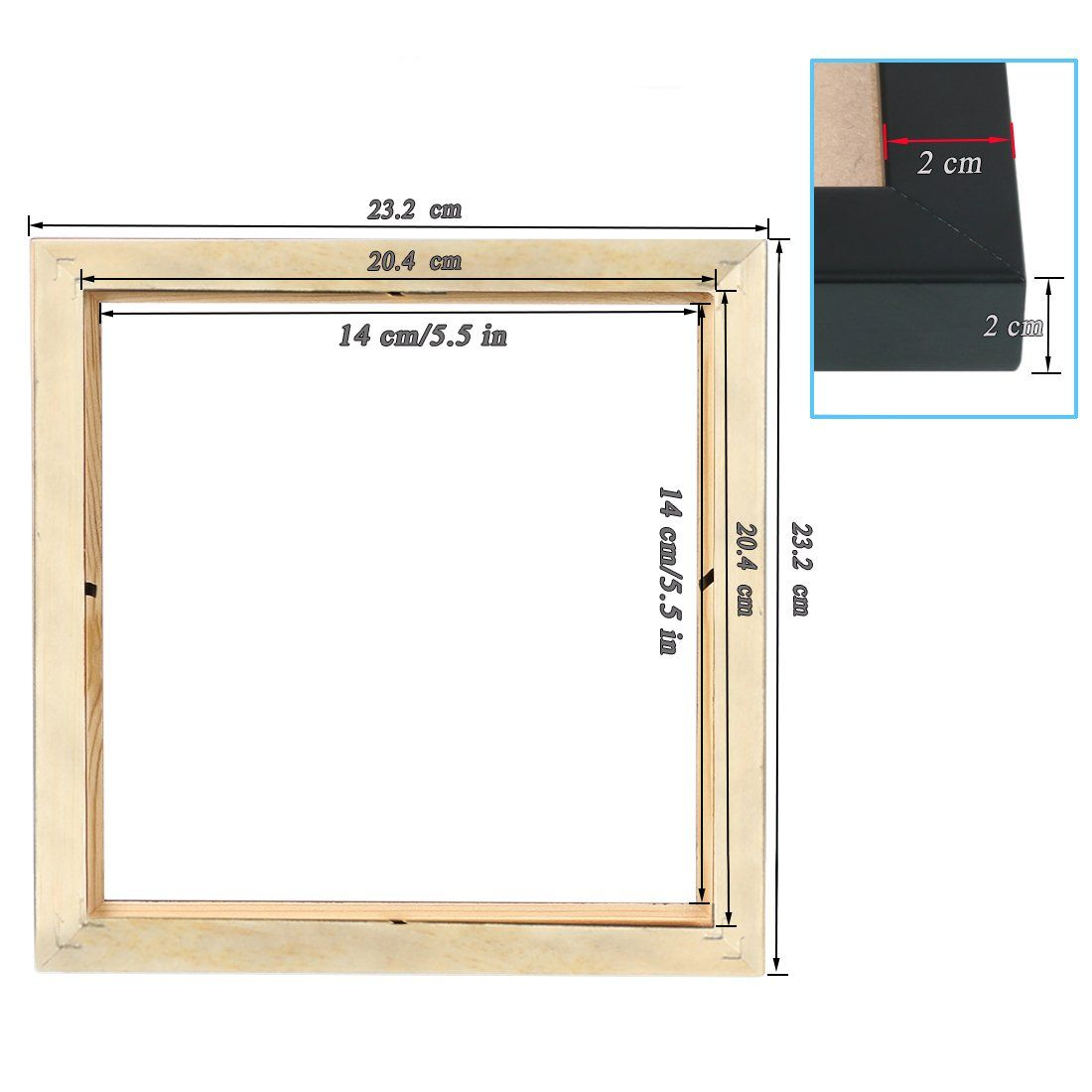 BOJIN Black 8x8 Inch Picture Frames Holds 6x6 Inch With Mat Wooden ...