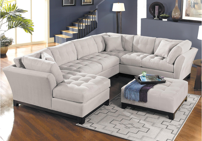 Cindy Crawford Home Metropolis Platinum 3 Pc Sectional Living Room Sets Beige