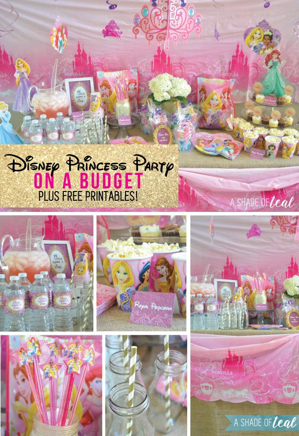 A Disney Princess Party On A Budget Plus Free Printables Pinterest Disney Princess Party