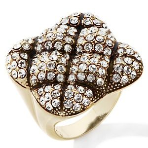 """""""Quilted Top"""" Pave' Crystal Ring.  I'm into big costume nice jewelry.....I really like this piece."""