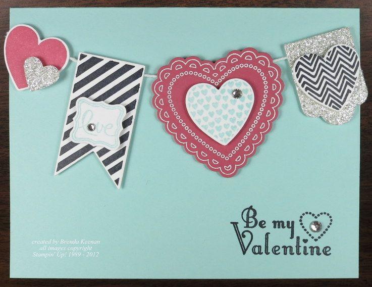 Hearts A Flutter Banner Card Valentine Love Cards