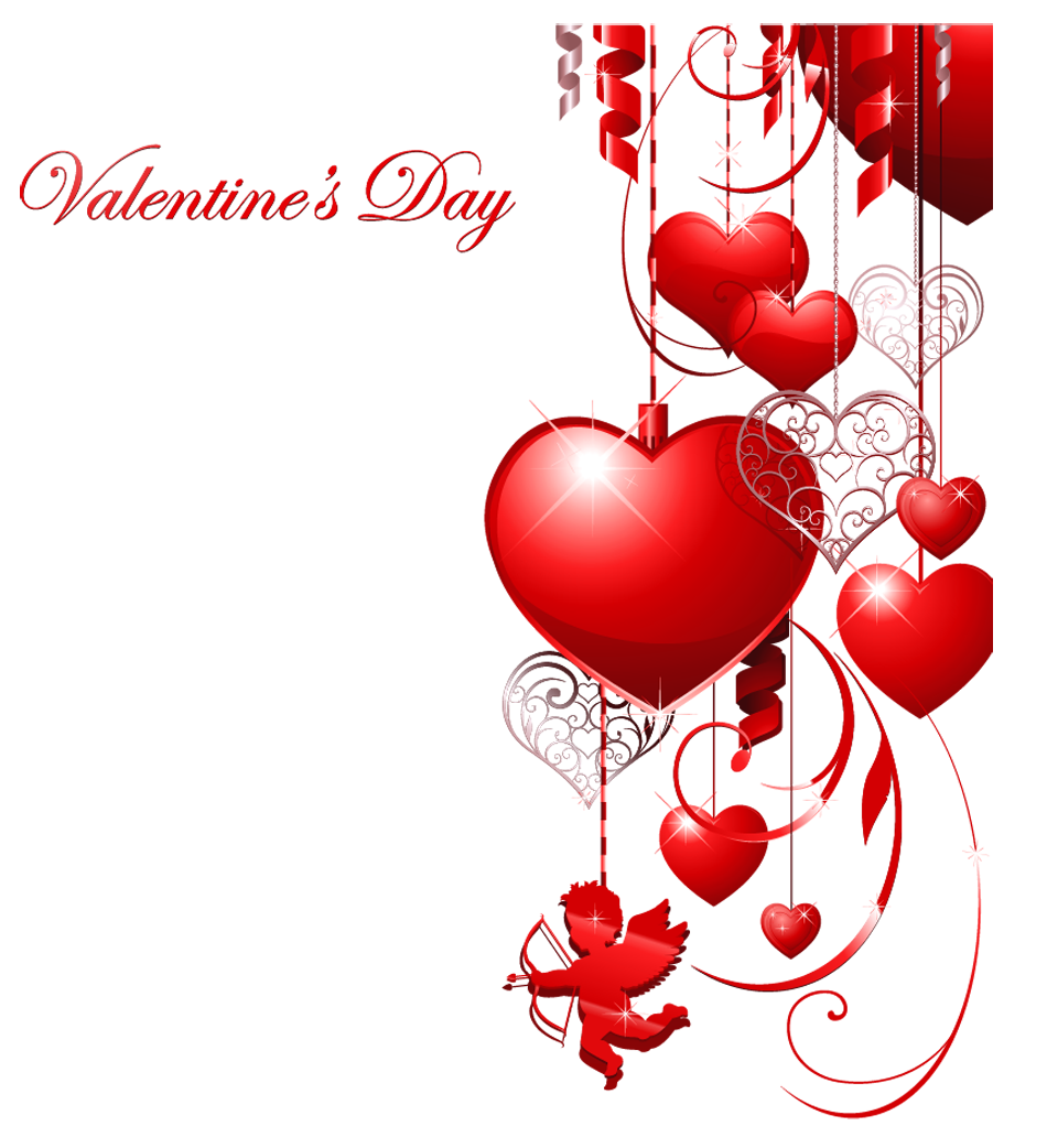 hight resolution of valentines day decor with hearts and cupid clipart