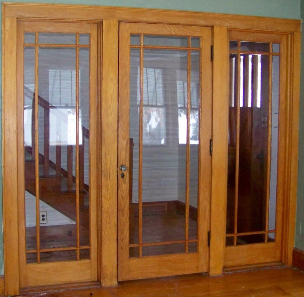 Antique Oak Entry Door With 2 Sides Windows From The 1940 S Solid Oak Craftsman Style Doors Entry Doors French Doors Patio