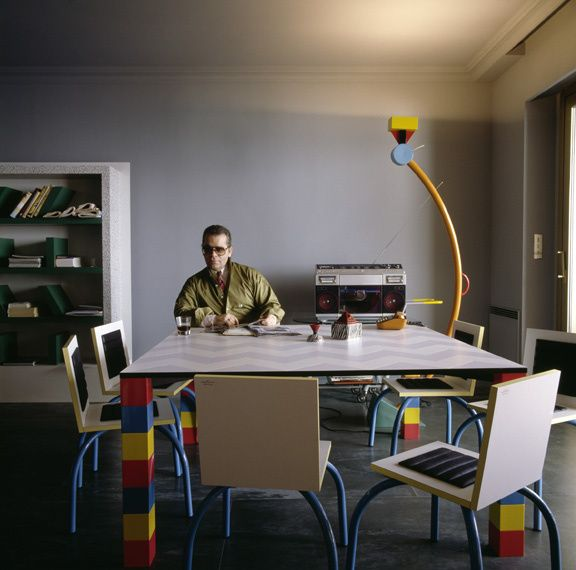 1981 - Karl Lagerfeld in his Monte Carlo Memphis-furnished apartment by  Jacques Schumacher