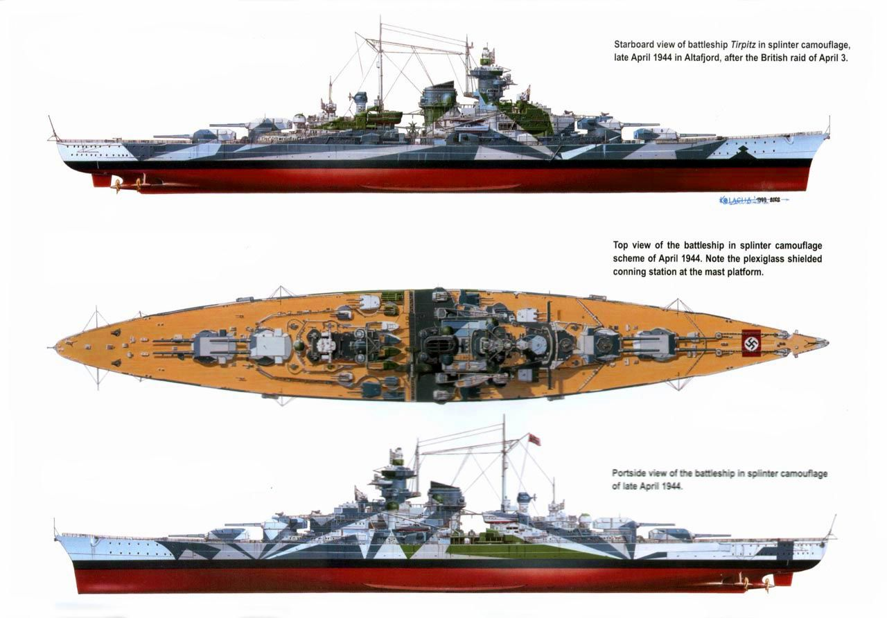 diagram of the battleship tirpitz  more