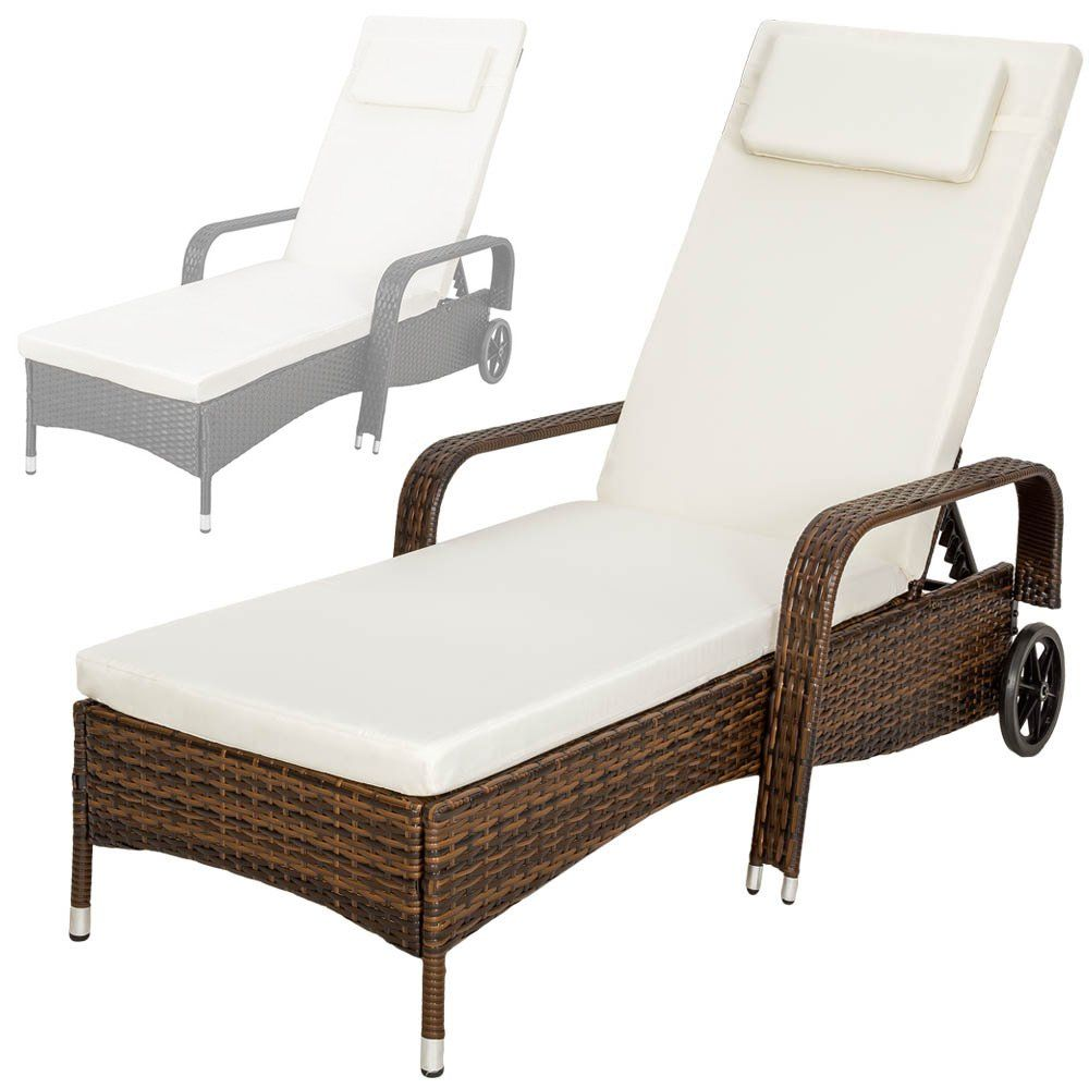 tectake rattan day bed sun canopy lounger recliner garden furniture patio terrace different colours
