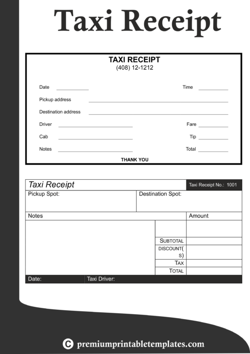 Taxi Receipt Template In 2020 Receipt Template Templates Printable Free Business Plan Template