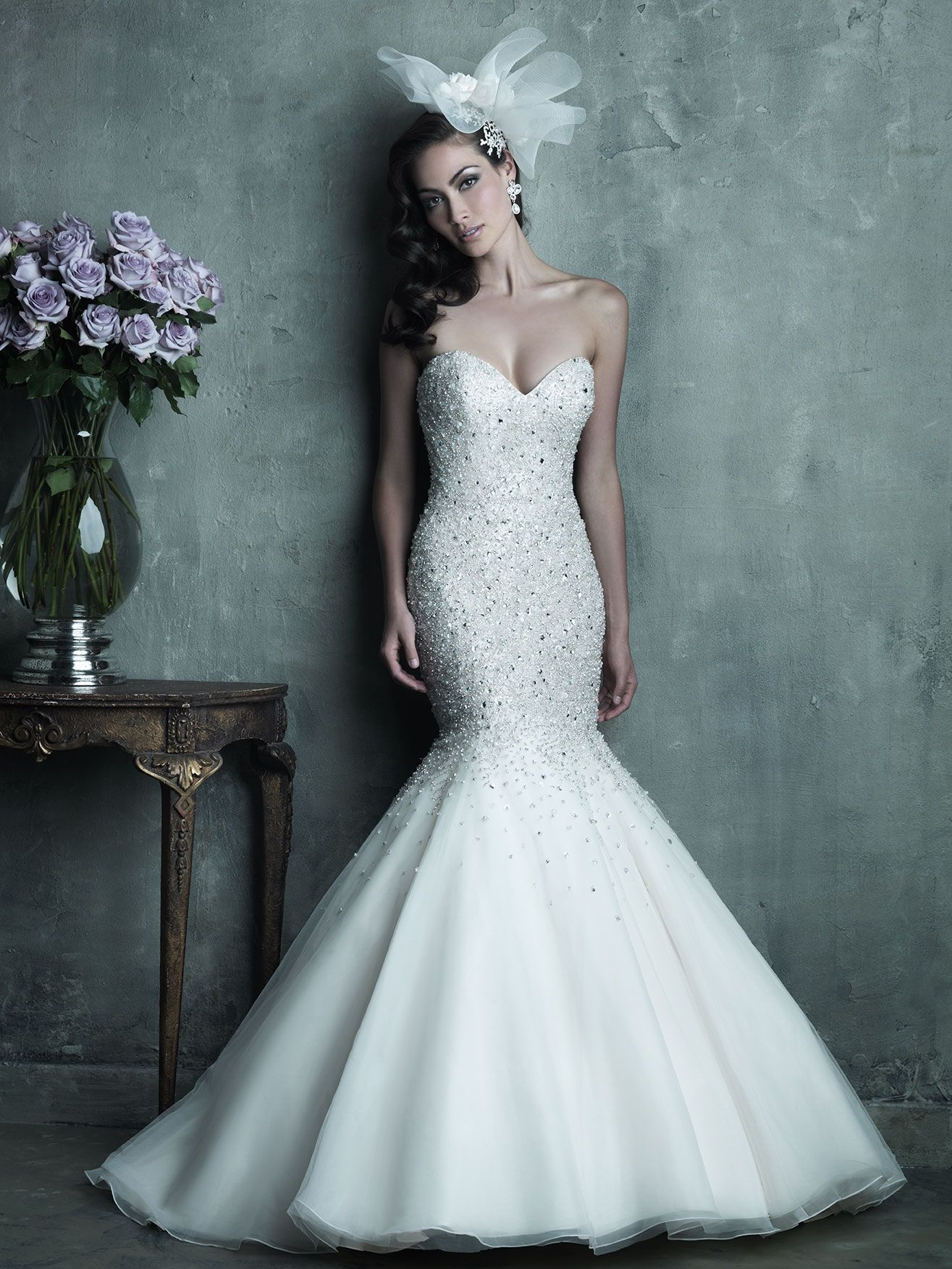 sparkles  Gorgeous English Net   Organza Mermaid Gown by Allure Bridals.  Sweetheart Neckline 41e1129fe06d