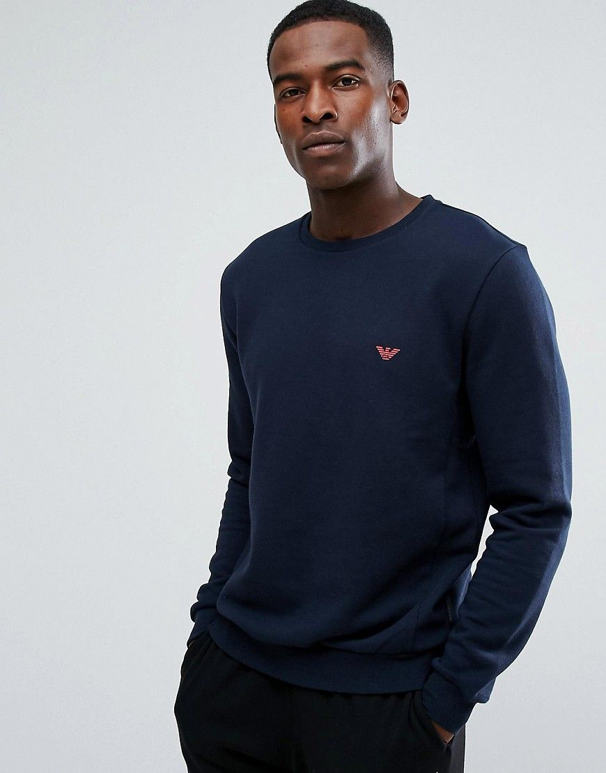 bf9fd1a3dc2d3b Emporio Armani Crew Sweater with Contrast Logo in Navy   Clothes