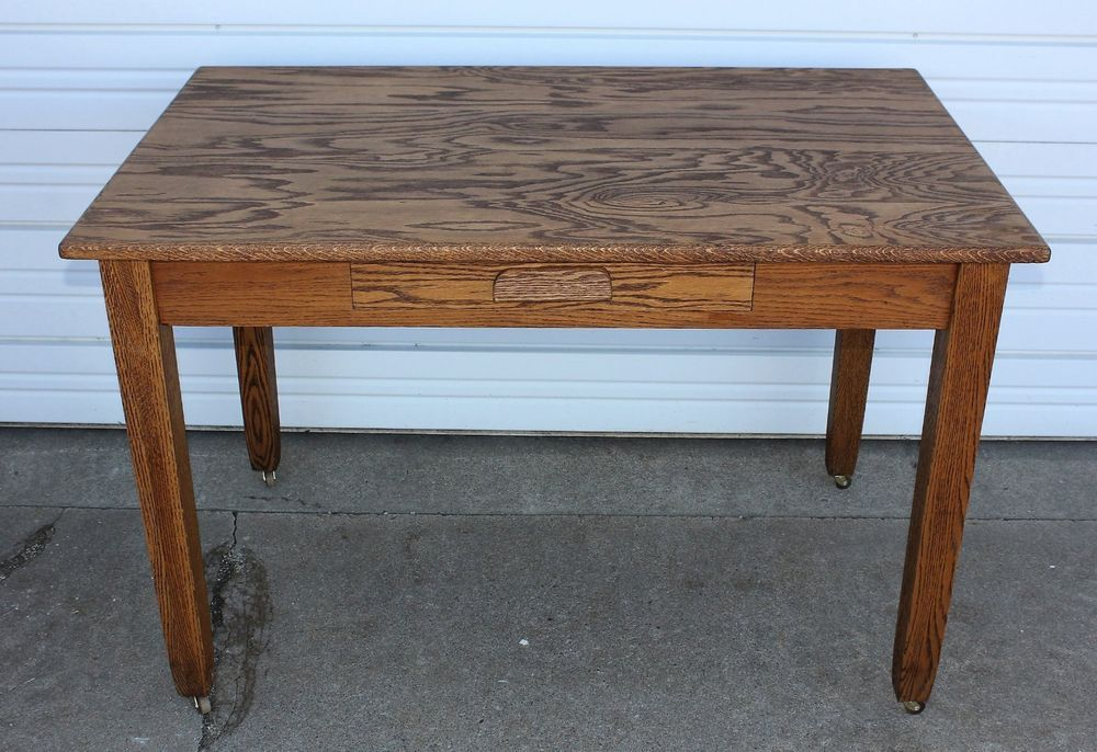 OAK Arts & Crafts Mission Library Desk Hall Office Conference Table Antique  OLD   Antiques, - OAK Arts & Crafts Mission Library Desk Hall Office Conference Table