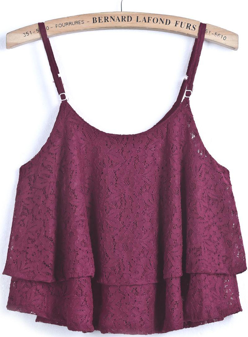 Red Spaghetti Strap Lace Loose Vest - Sheinside.com