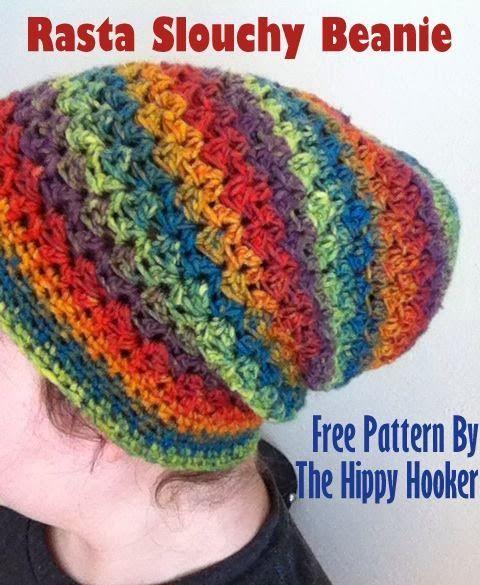 The Hippy Hooker Rasta Slouchy Beanie Free Crochet Pattern