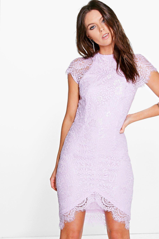 2ce8f9740e48 Boutique Leah Eyelash Lace Curved Hem Bodycon Dress | Clothes ...