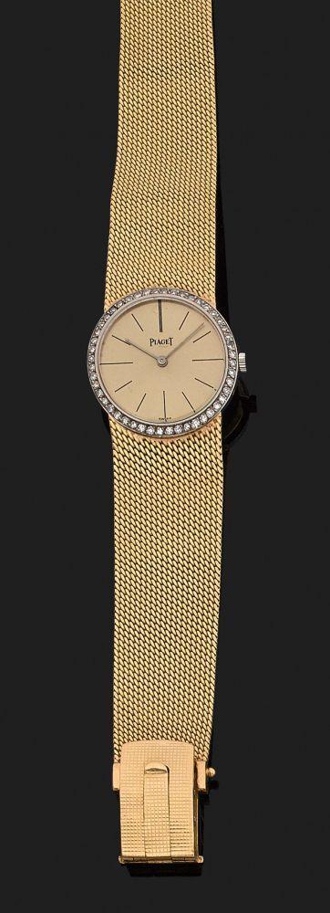 PIAGET VERS 1960 Montre bracelet de dame extra-plate en or jaune. Boîtier rond avec lunette ser