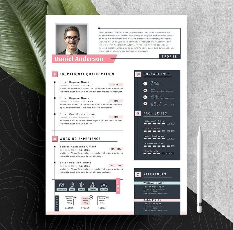 Modern Resume Cv Template With Ms Word & Apple Pages