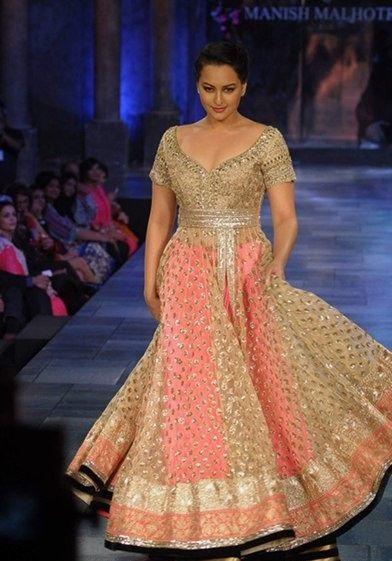 Sonakshi Sinha walking the ramp for Manish Malhotra