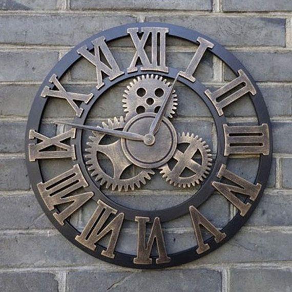 grand mur horloge la main vintage rustique 45cm en par. Black Bedroom Furniture Sets. Home Design Ideas