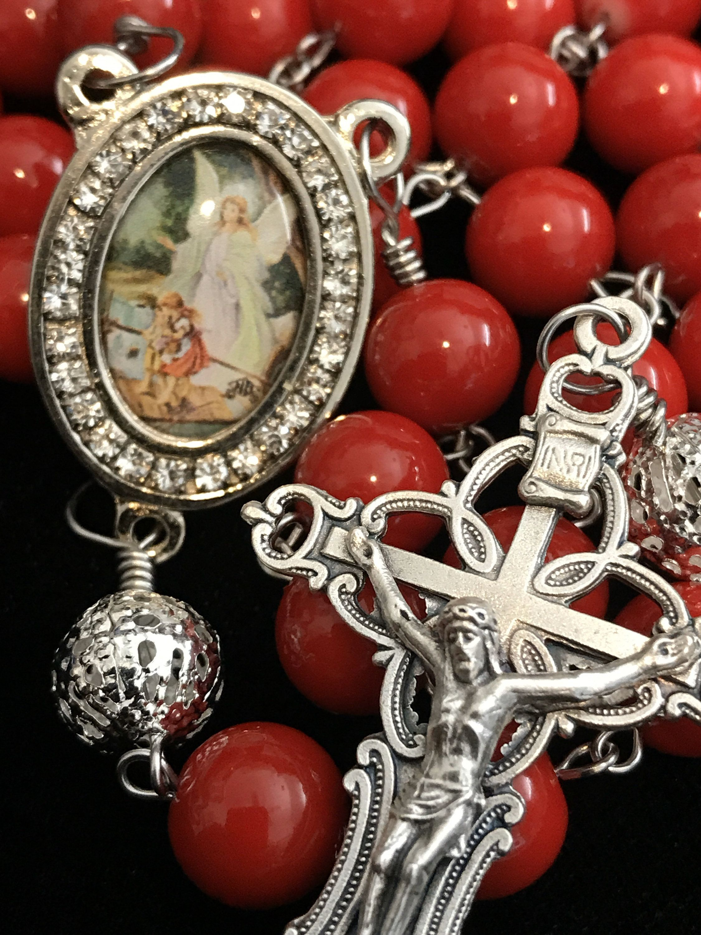 RED Guardian Angel Catholic Rosary #catholicrosaries