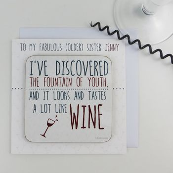 Funny Fountain Of Youth Wine Card With Coaster Quote