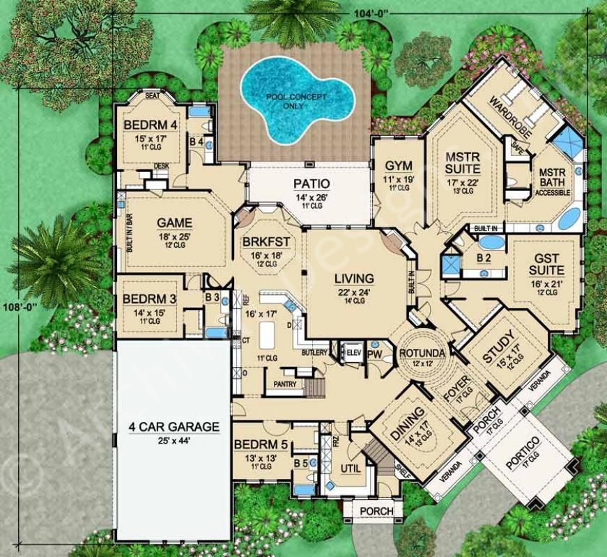 Mansion Floor Plans: Gorgeous, Mainly Single Story Mira Vista House Plan