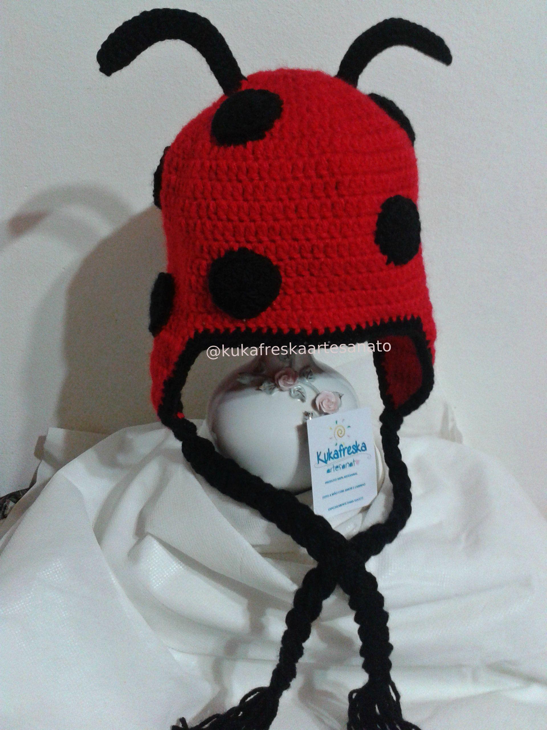 Touca de croche Joaninha | touca croche e trico Infantil | Pinterest