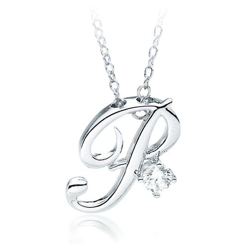 Letter P Name Initial Necklace with Cubic Zirconia A Special - celebration letter