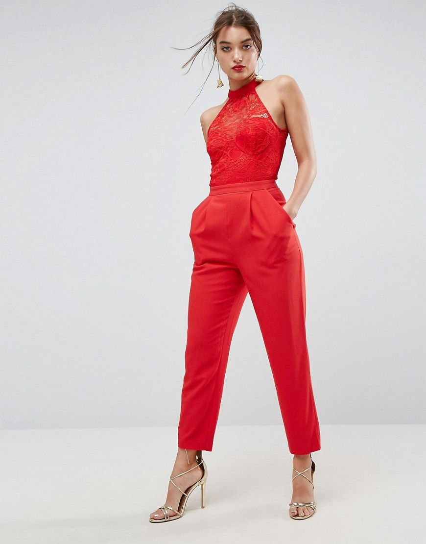 7f5fa18901d9d4 ASOS Lace Top Jumpsuit with Halter Neck - Red