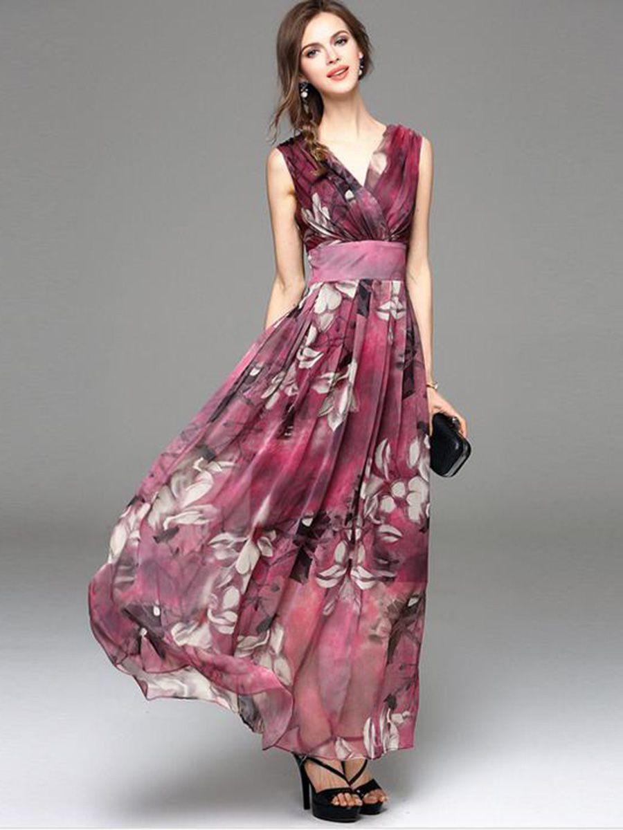 a136fe21c99 Floral Imprint V Neck Sleeveless Maxi Dress
