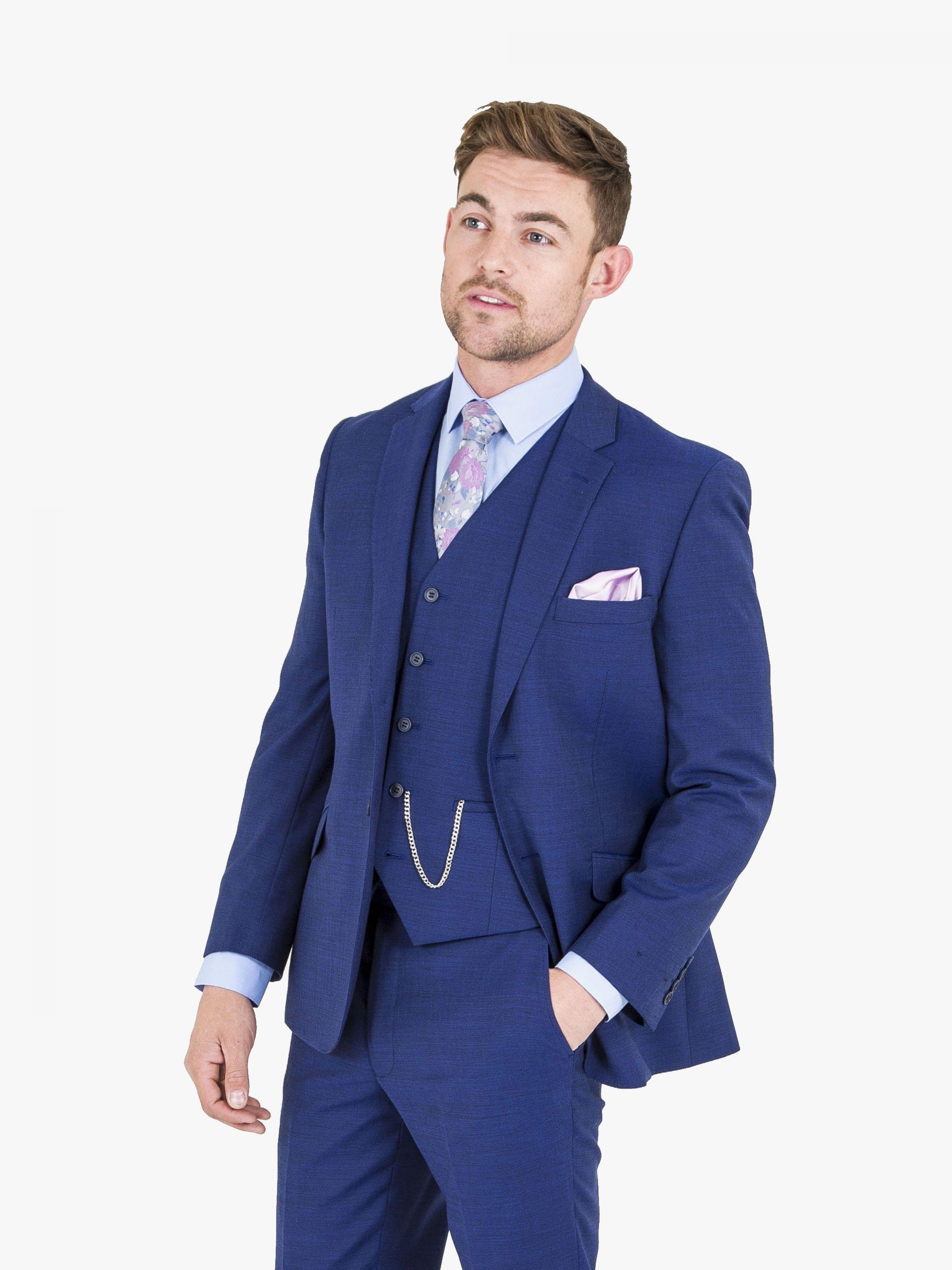 fb193149c783 Ted Baker Bright Blue Luxury Three Piece Suit