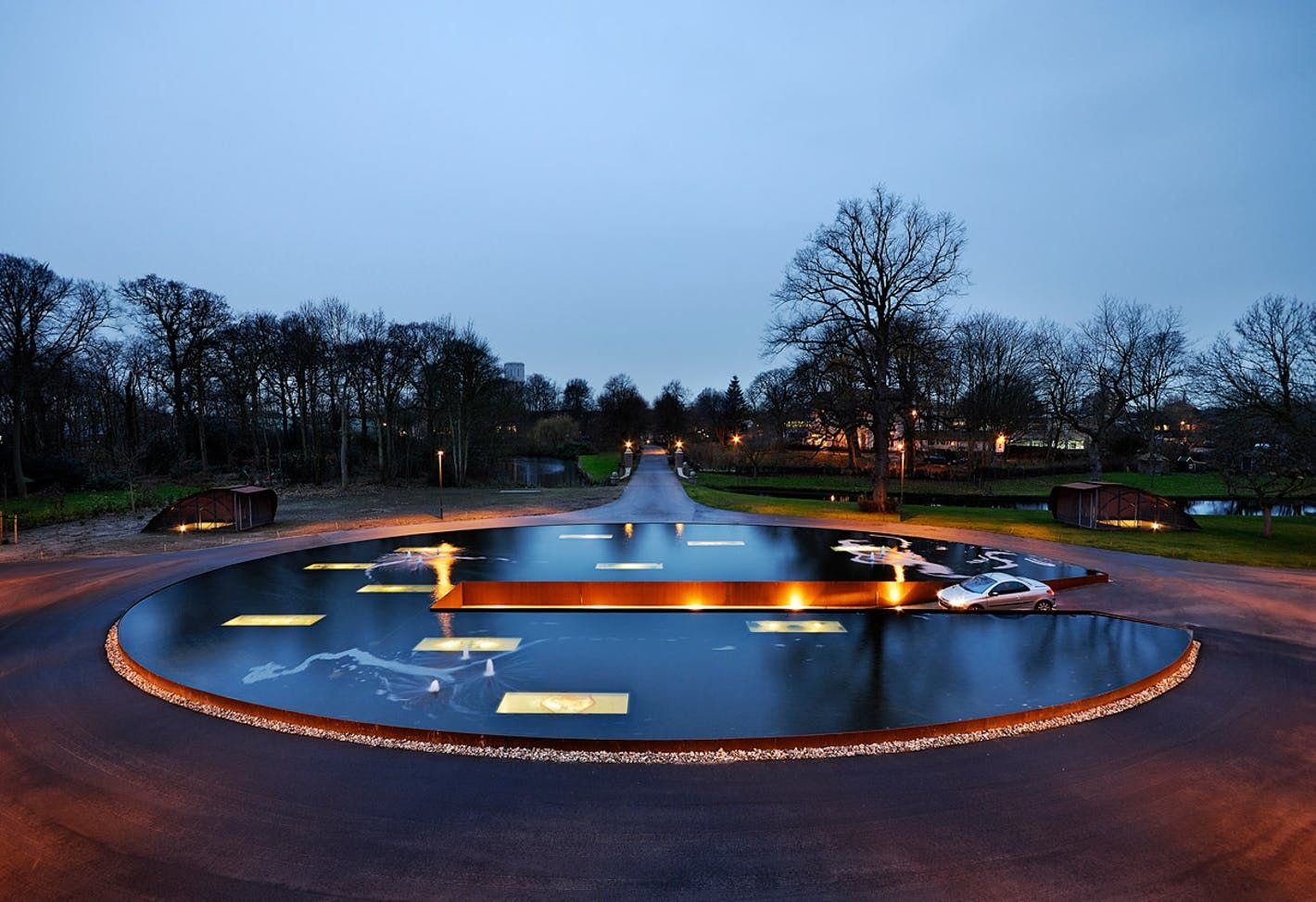James Bond Style Pond And Parking Garage Entrance By Hosper Landscape Architecture Park Landscape Architecture