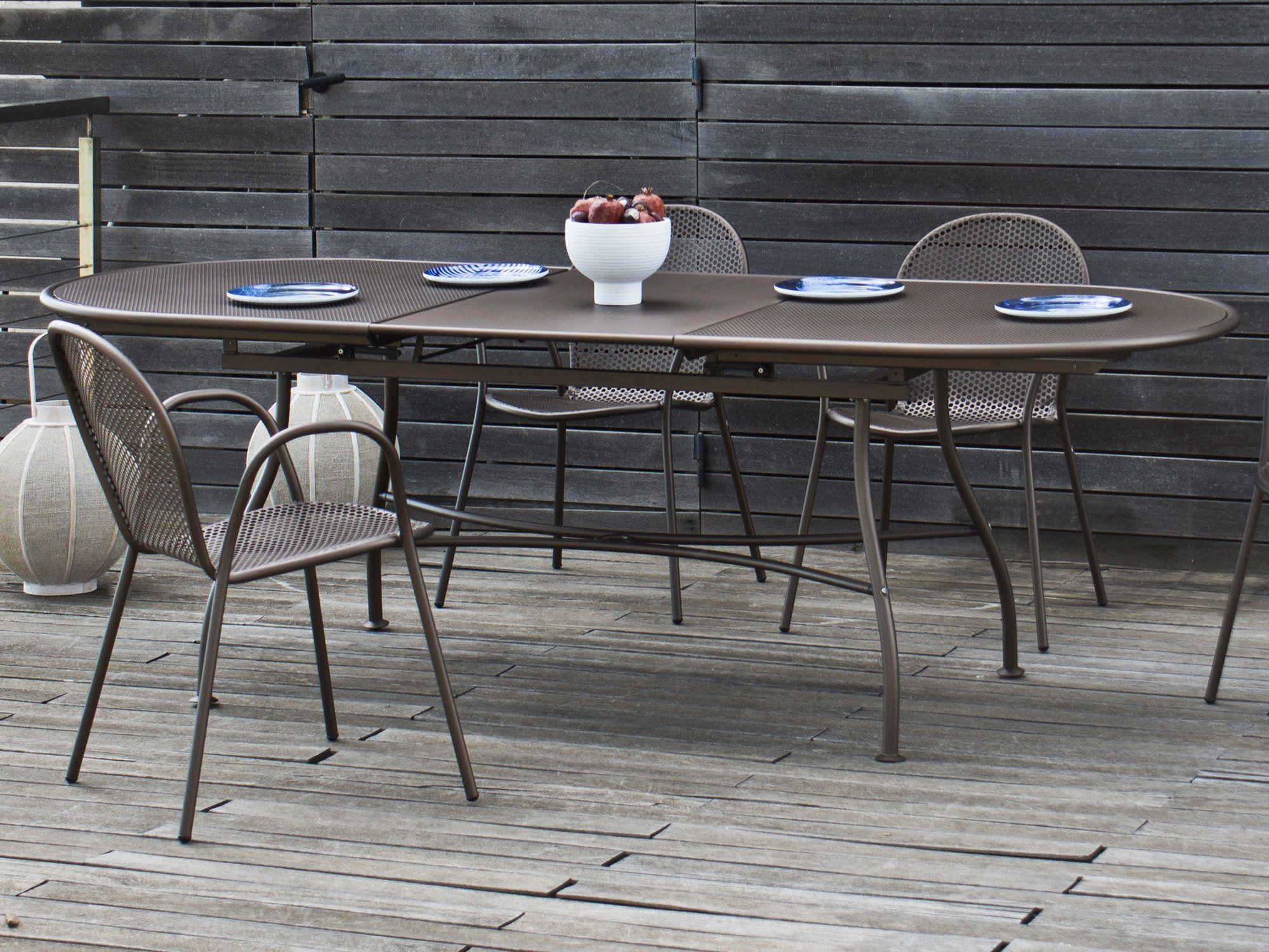 Table De Jardin Ovale Extensible Acier 180 240x90cm Trou Pour