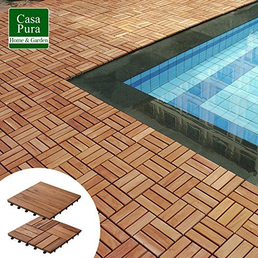 Casa Pura Interlocking Acacia Wooden Garden And Patio Decking Tiles Arden Pack Of 11 12 X 12 Inches Deck Tiles Patio Outdoor Deck Tiles Wood Deck Tiles