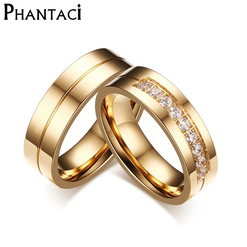Engagement Wedding Rings Set In 2020 Stainless Steel Wedding Ring Stainless Steel Wedding Bands Couple Rings Gold